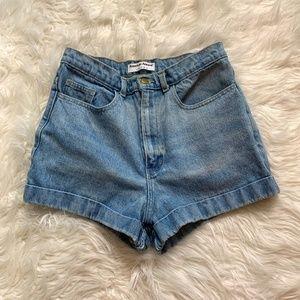 American Apparel USA Cuffed High Rise Jean Shorts